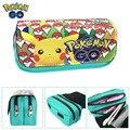 Hot Vender Pokemon Jogo Ir Caixa de Lápis Carteira Puxão Pikachu Eevee Maquiagem Cosméticos Bolsa Da Moeda Duplo Zíper Caneta Saco