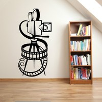 Movie Camera Vinyl Wall Decal Video Home Cinema Film Reel Vintage Theatre Mural Art Wall Sticker Studio Bedroom Home Decoration