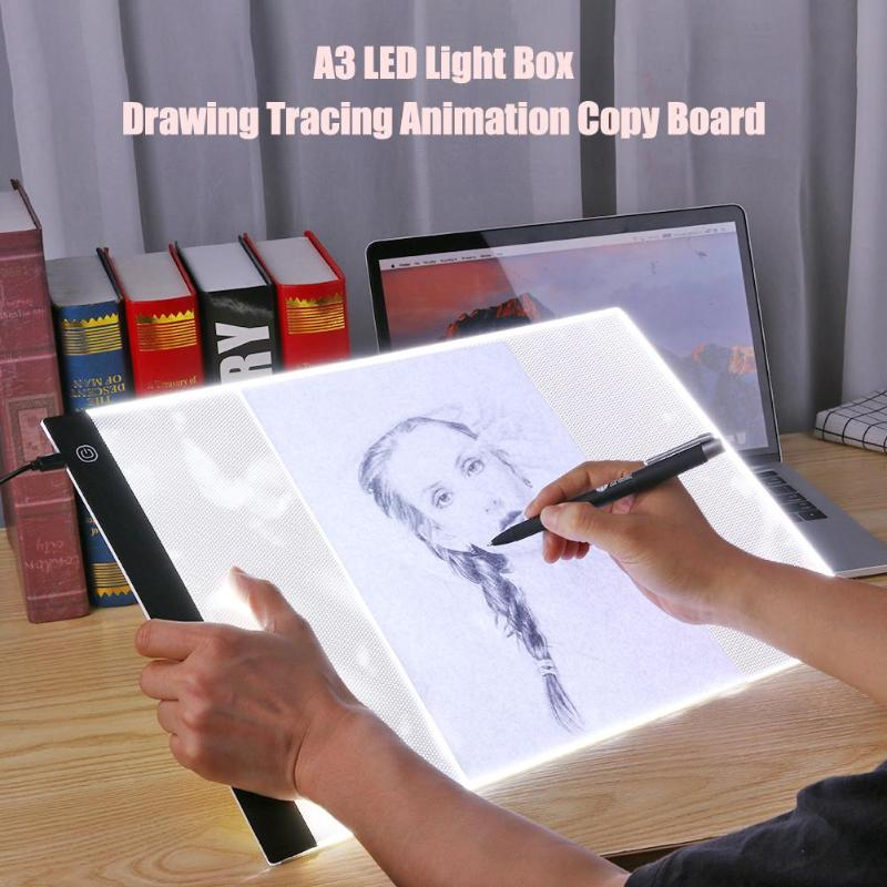 Newst A3 Dimmable Brightness LED Painting Drawing Board 3 Types Dimming Modes Digital Tablet Touch Copy Plate for Kid Children