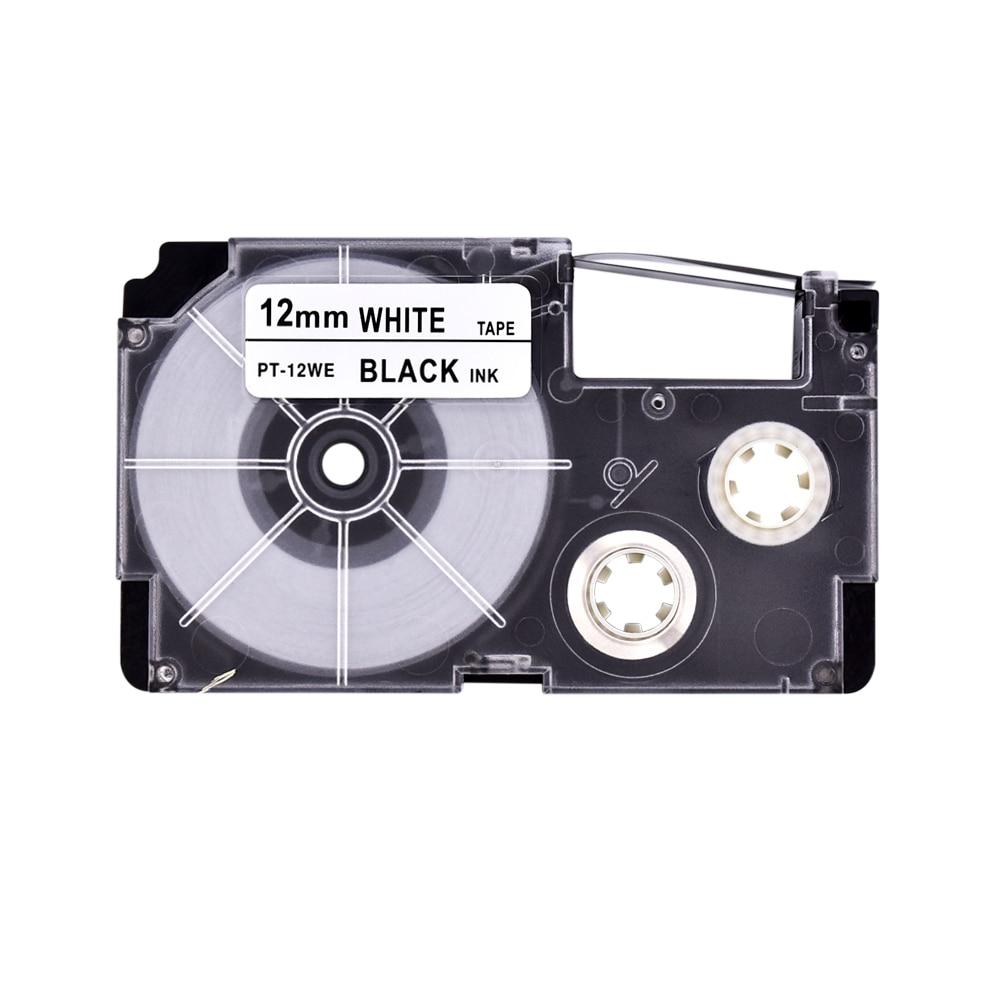 2PK Compatible Casio XR-6WE Black on White Label TapeS 6mm x 8m KL100 KL-120