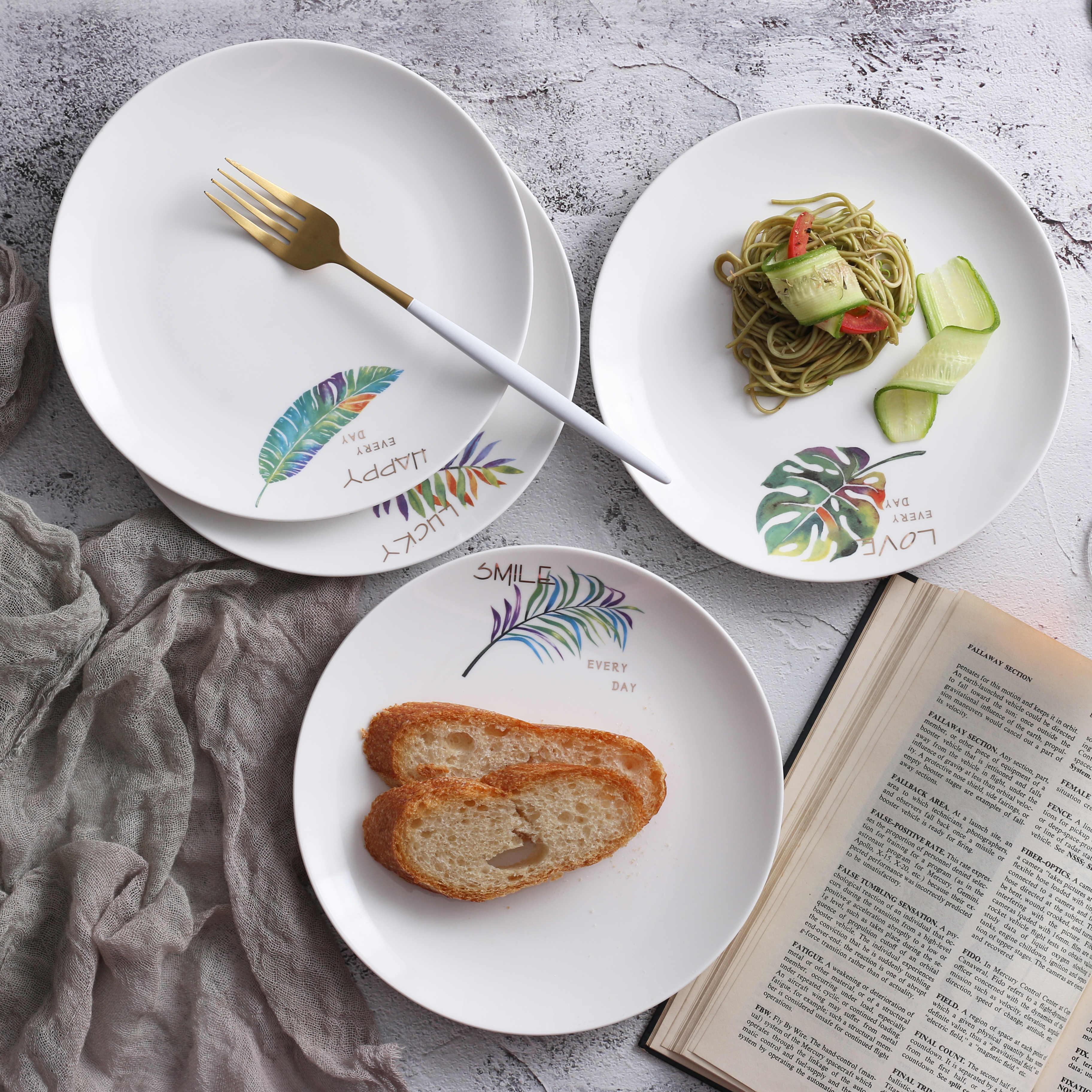 8 Inch Round Plate Ceramic Dinner Plate Dish Porcelain Dessert Plate Dinnerware Cake Plate Daily Uses Home Tableware