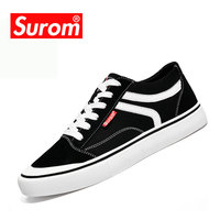 SUROM 2018 New Fashion Men S Vulcanize Shoes Sneakers Breathable Mens Classic Flats Lace Up Comfortable