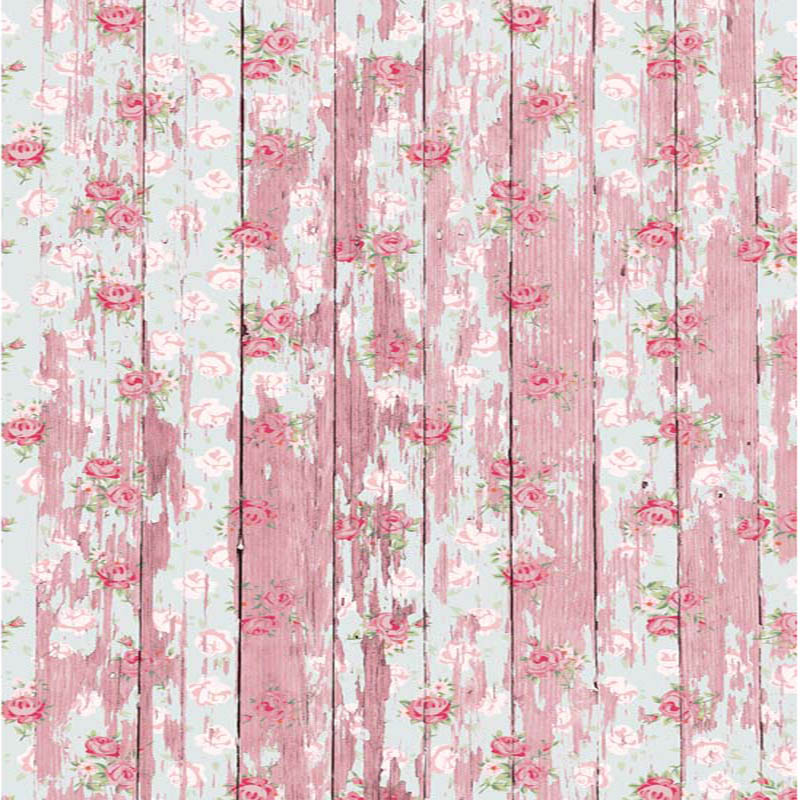 300x300cm Flowers Overlaying Wood Plank Photography Backdrops Conputer Printing Thin Vinyl  Background For Photo Studio F2674