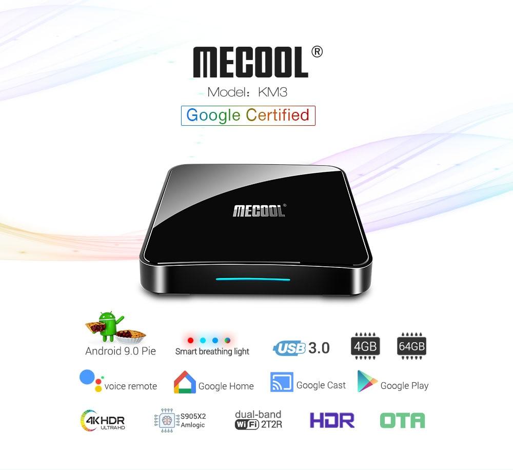 Mecool KM3 ATV 4 gb 64 gb Android 9.0 TV Box Google certifié Amlogic S905X2 entrée vocale 4 K 2.4G5G Wifi Smart TV Box