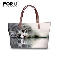 FORUDESIGNS Cat Tote Bag Women Handbag Lady Casual Shoulder Messenger Bags Black Cat Cross Body Bag