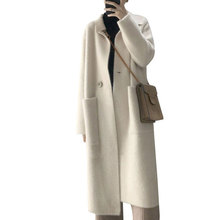 2019 Women Vintage Knitting Long Sleeve Jacket Coat Turn Down Collar Winter Wome