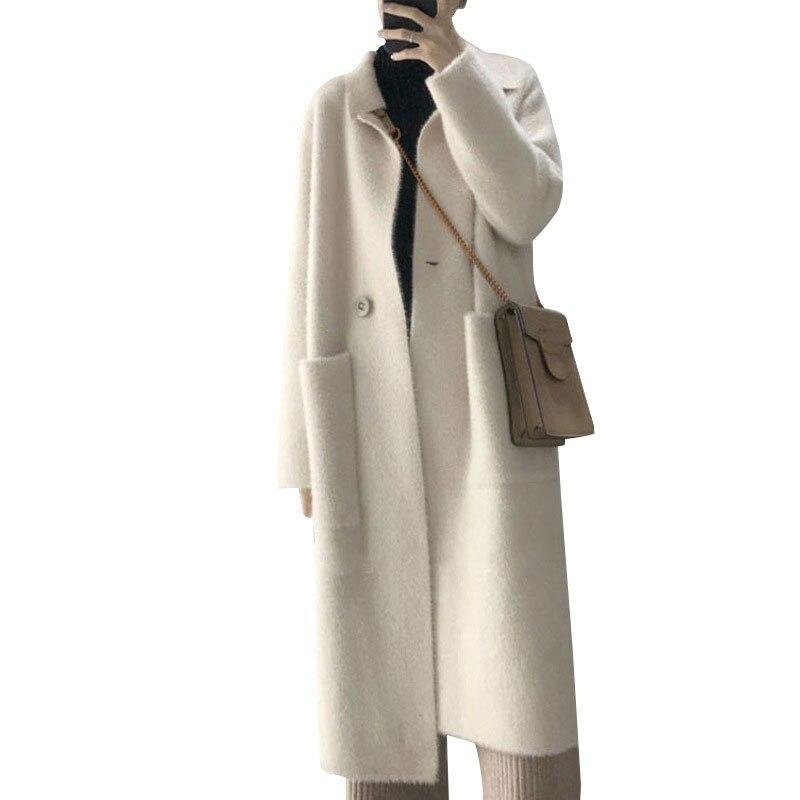 2019 femmes Vintage tricot à manches longues veste manteau col rabattu hiver haut pour femme Cardigans femmes chaud manteau Casaco Feminino