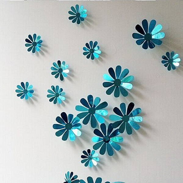 12pcs Pack Hot Flower Adhesive Wall Sticker Fashion Diy Family Home Christmas Decoration