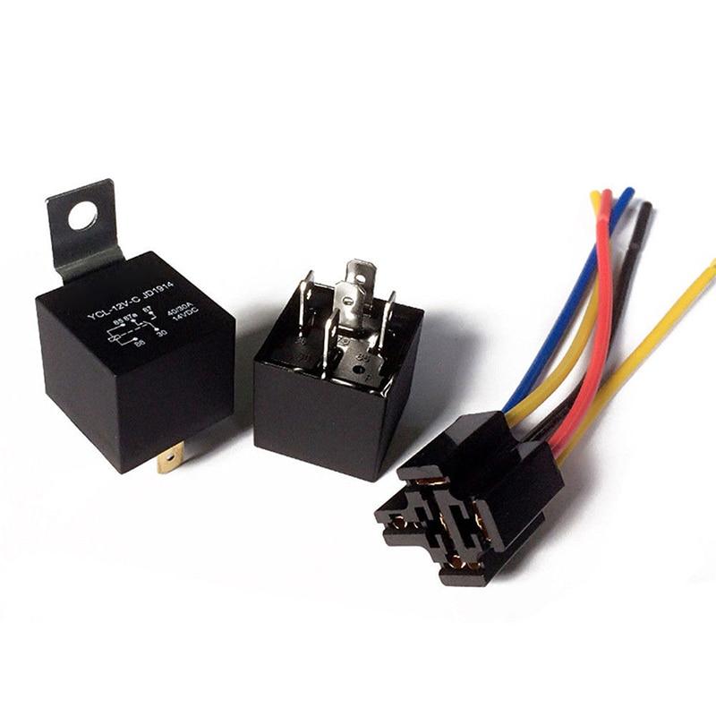 12v  24v 30  40a Car Harness Car Auto Relay Socket 5 Wire Relay For Head Light Air Conditioner