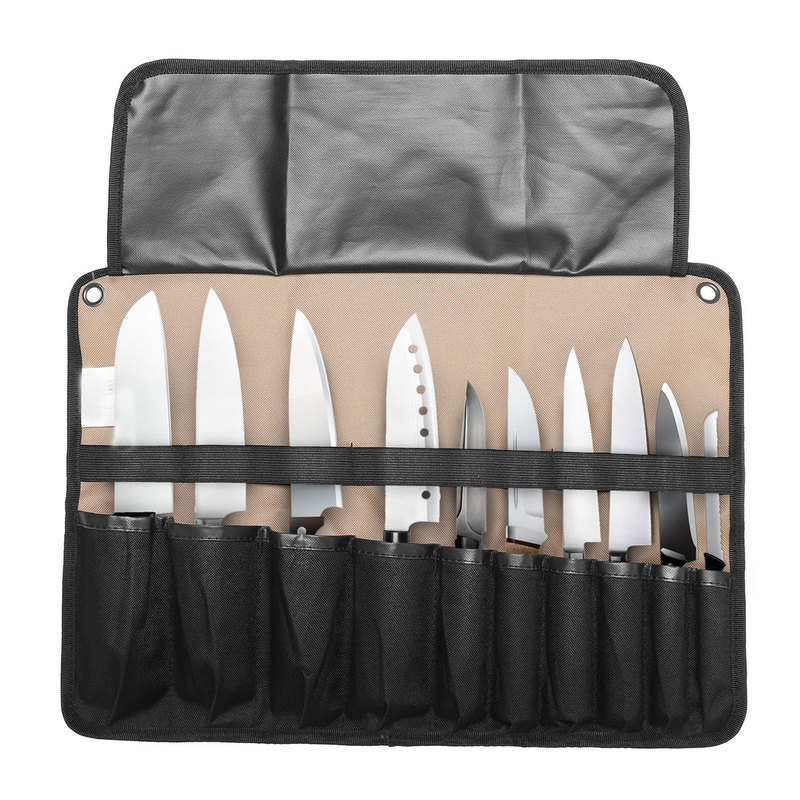 Chef Knife Bag Roll Bag Carry Case Bag Kitchen Portable Storage 10/21 P Ockets Black Coffee