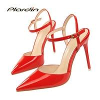 Plardin 2017 Women Crystal Ankle Strap Bling Metal Decoration Shoes Woman Pointed Toe Thin Heels Women