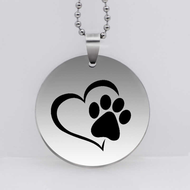PAW PRINT Stainless Steel Dog Paw Print Pendant Necklace Animal Jewelry Pet Prints Necklace for Women Gift Drop Shipping YLQ6275