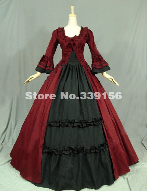Red Cotton Renaissance Colonial Victorian Dress Gothic Steampunk Ball Gown Stage Reenactment Costume Theme Party Wedding Gown