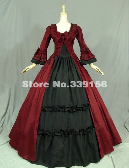 b5ff8289306 Red Cotton Renaissance Colonial Victorian Dress Gothic Steampunk Ball Gown  Stage Reenactment Costume Theme Party Wedding Gown