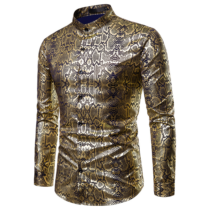 Multiple colour Men Coated gold Bronzing Printed Business dress Shirts Night club party Wedding stage singer Long Sleeve Shirt(China)
