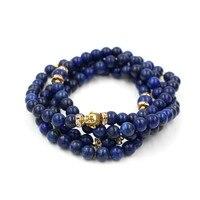 Fashion Men Women S 108 8mm Mala Lapis Stone Bead Bracelet Necklace High Quality Buddha Charm