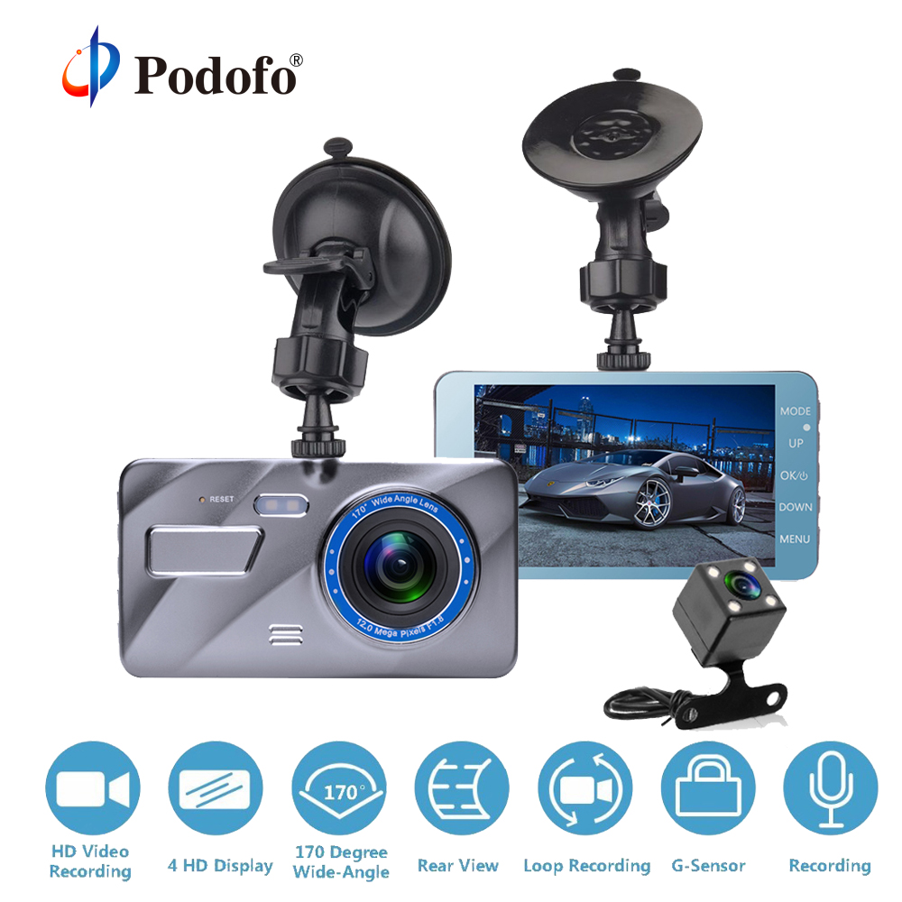 Podofo Dash Cam Dual Lens Car DVR Cámara Full HD 1080 p 4