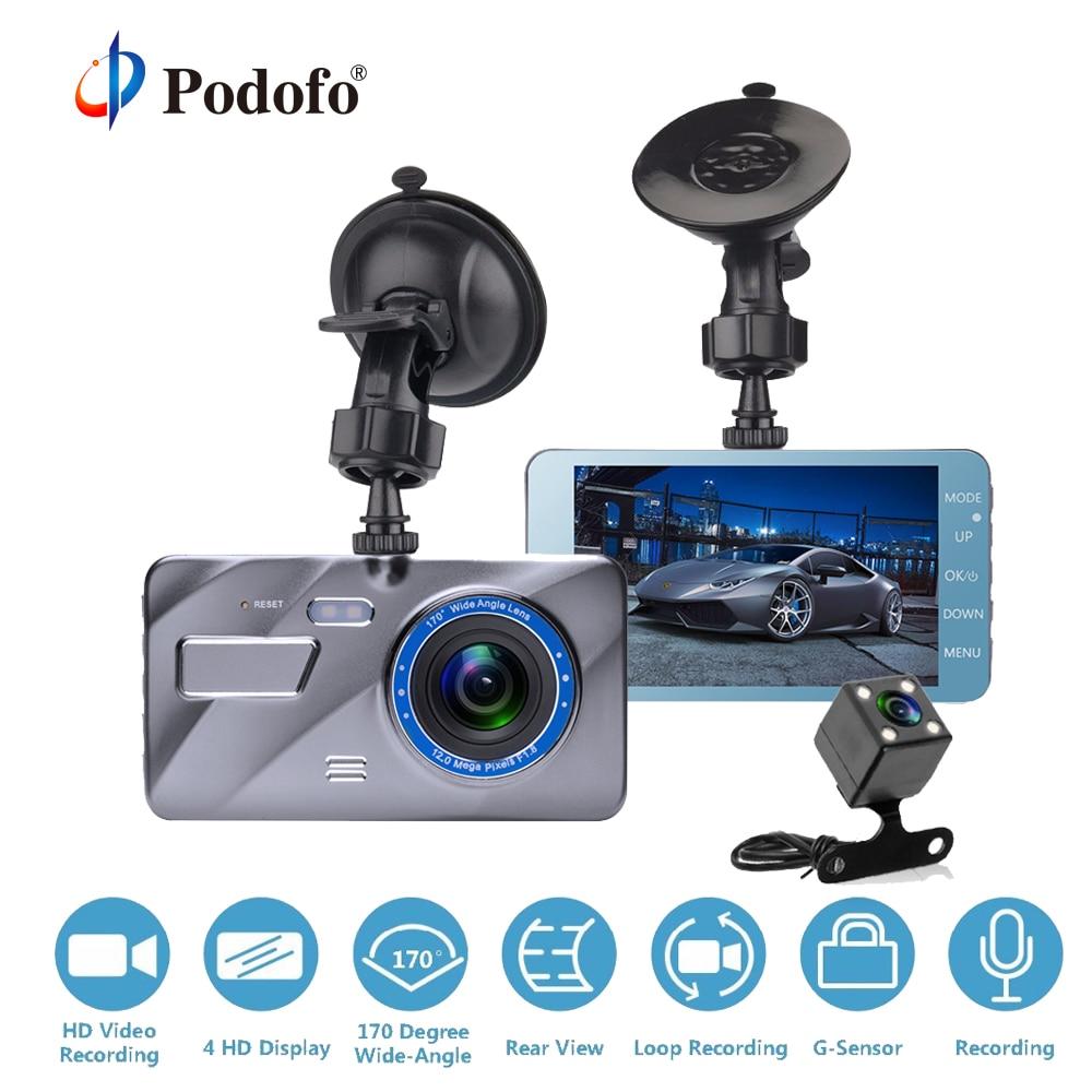 Podofo Dash Cam Dual Lens Car DVR Camera Full HD 1080P 4 IPS Front+Rear Blue Mirror Night Vision Video Recorder Parking Monitor