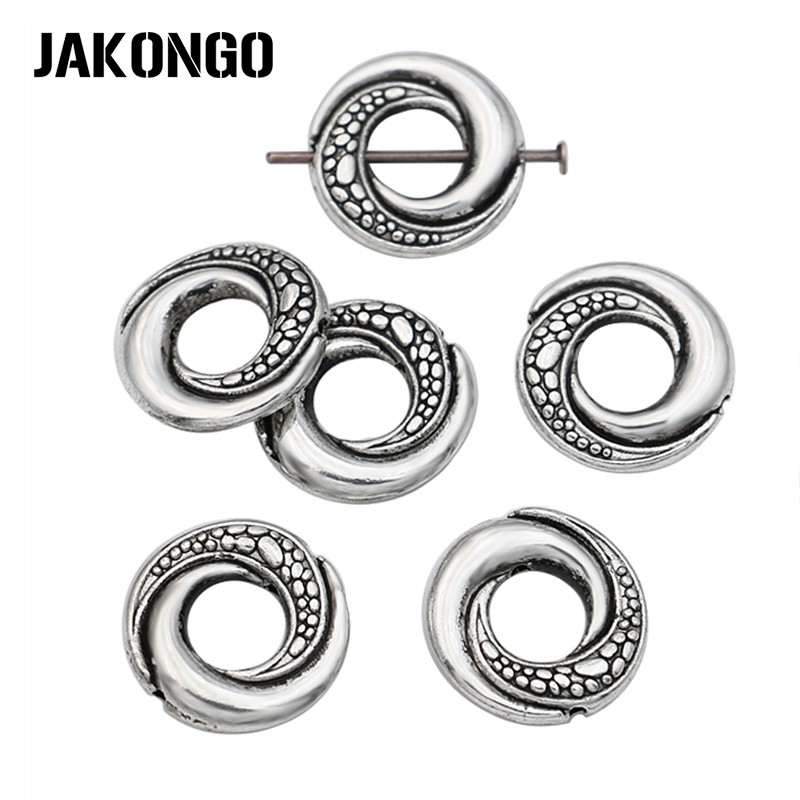 JAKONGO 10pcs Antique Silver Plated Round Bead Frame for Jewelry Making Bracelet Necklace DIY Accessories Handmade Craft 15x6mm(China)