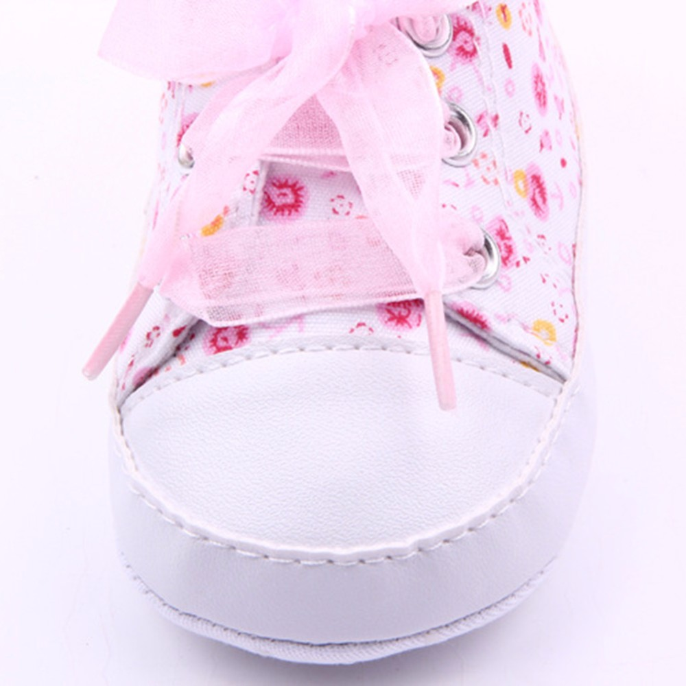 HOT Baby Shoes Flower Ribbon Baby Girl Sneaker Lace Up Soft Sole Prewalkers 6