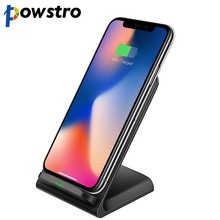 Powstro Qi Standaard Draadloze Oplader Quick Charger Stand Dock Voor Iphone Xs Max Xr 8 X Samsung S9 S8 S7 s10