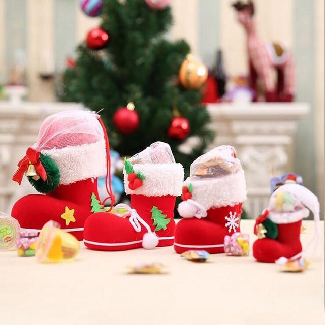 100pcs 6*6*3cm Mini Christmas Gift Bag Elf Spirit Candy Boot Shoes ...