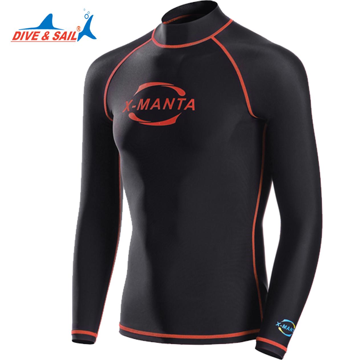 Prix pour Dive & Sail Lycra UPF 50 manches longues rash guards shirts pour hommes Plongée En Apnée Plongée Peau Anti-UV Surf plus taille xxxl