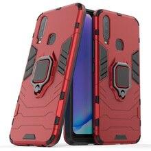 Vivo Y17 Case Armor Metal Finger Ring Holder Hard PC Phone For BBK Back Cover Kickstand Fundas