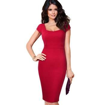 Hot Deals Summer Women Solid Color Short Sleeve Low Cut OL Work Business  Dress Simple Design Sexy Slim Bodycon Sheath Dress Plus Size E239 47ea3eefd