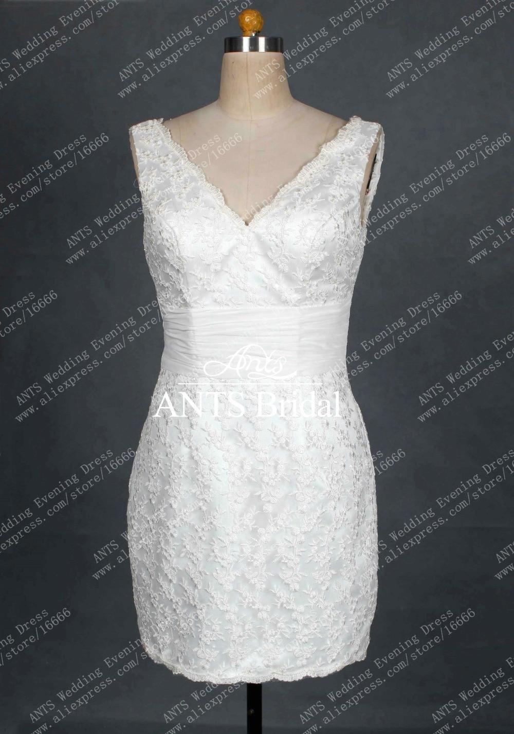 Buy v neck tea length ivory lace sexy for Ivory lace tea length wedding dress