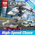 Lepin 02018 317 Unids Nueva Serie de La Ciudad La Persecución de Alta velocidad Helicóptero Set Niños Educativos Bloques de Construcción Juguetes de Los Ladrillos 60138