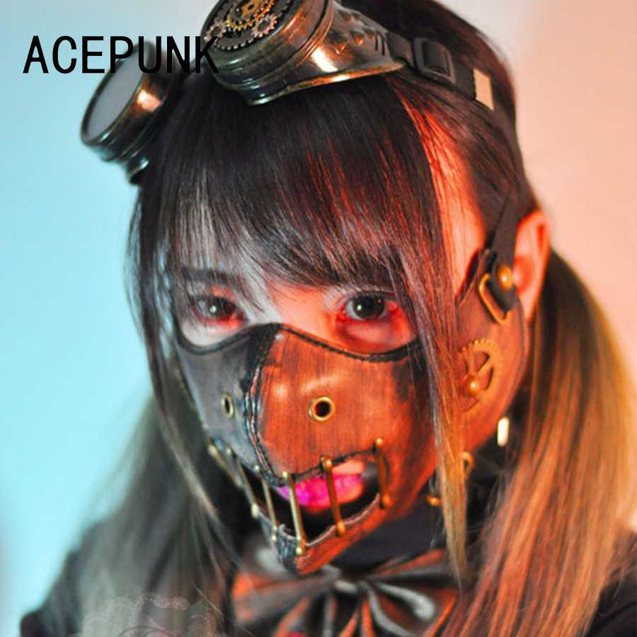 2020 Nieuwe Steam Punk Gear Maskers Gothic Punk Accessoire Night Club Masker Prestaties Maskers Hip Pop Bruin Gearwheel Klinknagel Masker