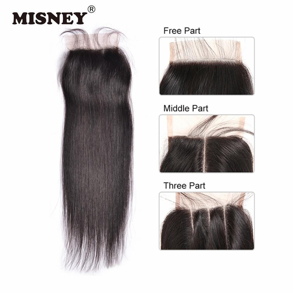 Remy Lace Closure 4x4 Brazilian Straight 100% Human Hair Cuticle Aligned Hair Extension With Baby Hair