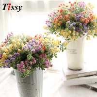 1PC Artificial Flowers Milan Flower with Green Grass Plants European Flowers DIY Wedding Party Decoration Home Vases Decoration