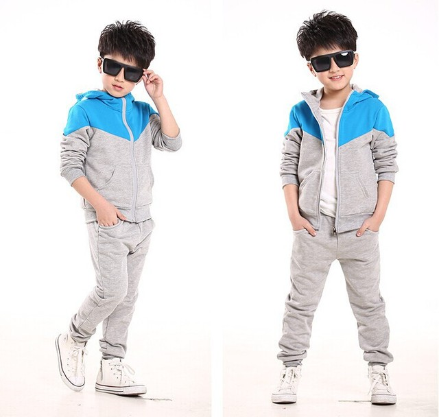 Boy's Cotton Hooded Long Sleeve Jacket and Pants Tracksuit