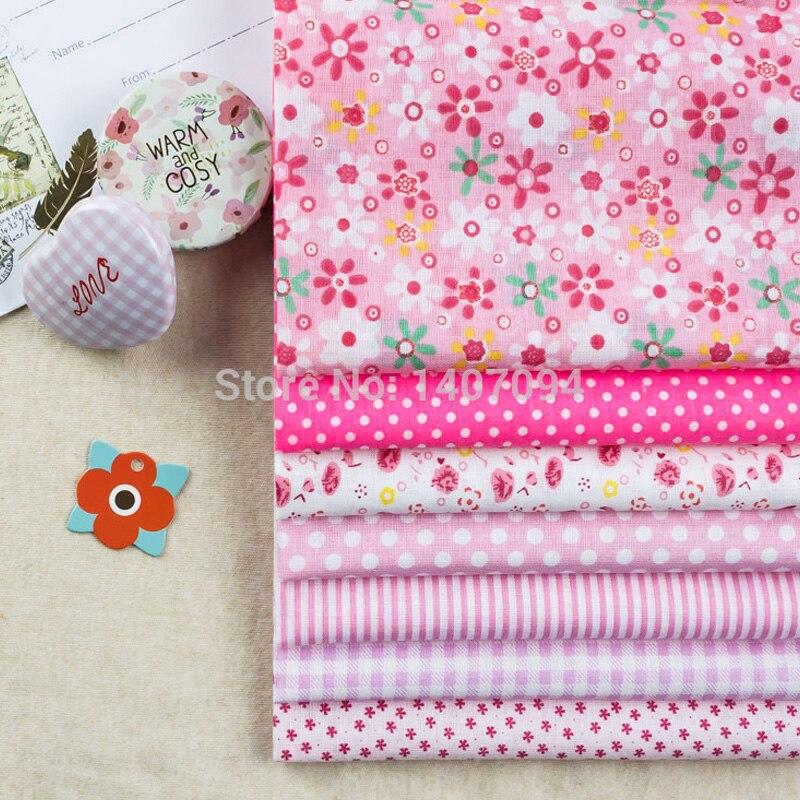 √7 unids 50x50 cm algodón Telas s Rosa pre-cut Fat bundle tissue ...