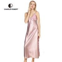CR Hot Frauen Sexy Nachtwäsche 6 Farben Größe M ~ XL Frühling Sommer Stil Lange Split Nachthemd Nachtwäsche Kleid Dessous Robe AP453