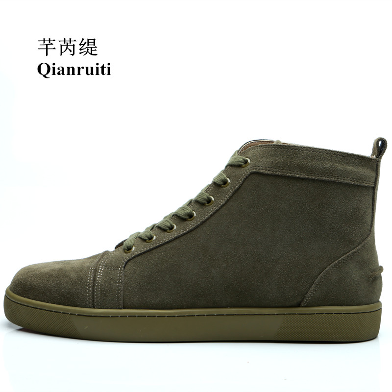 b0f4b83ba27f Qianruiti 2018 Autumn Men Army Green Sneaker Lace-up Flat High Top Shoes Men  Runway