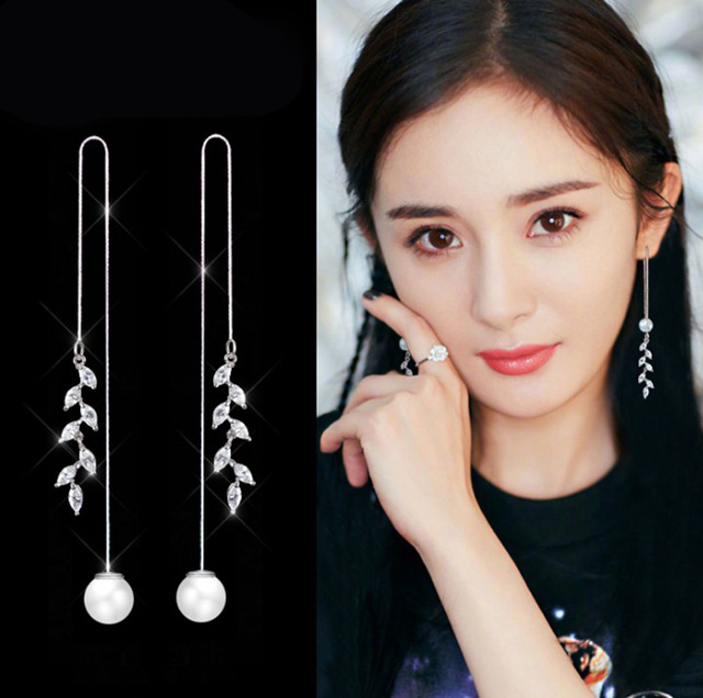 2019 Fashion 925 Sterling Silver Leaf Earrings Fashion Imitation Pearl Earrings For Women Wedding Girls Statement Jewelry