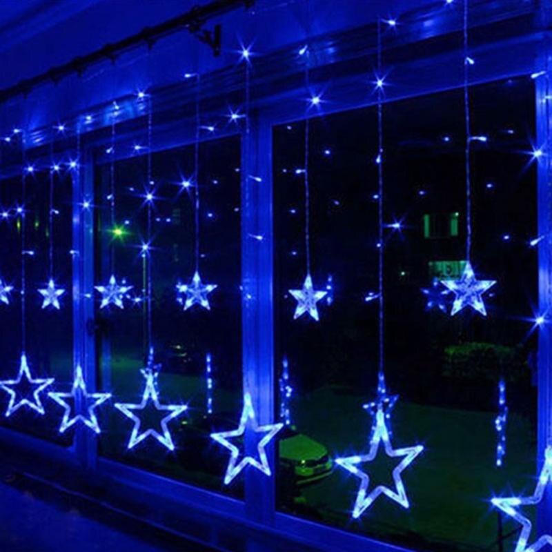 2,5 м светодиодные рождественские светильник AC220V ЕС Романтический Фея СВЕТОДИОДНЫЙ занавес звезда гирлянды светодиодные светильник s для пр...