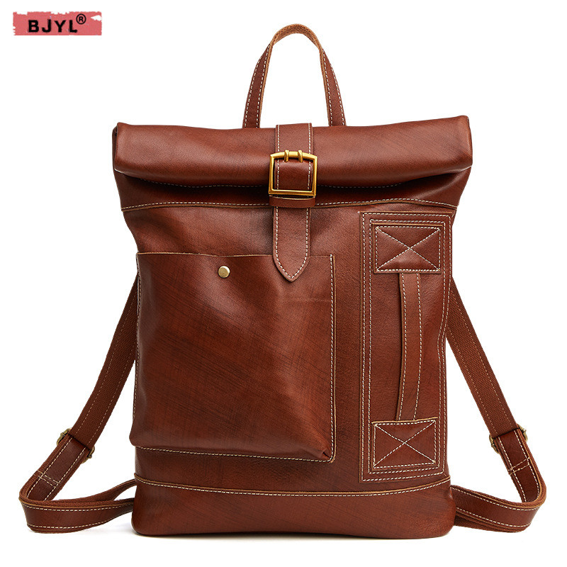 Novel Designs Bjyl New Genuine Leather Mens Backpacks Fashion Casual Trend Backpacks Large Capacity Mens Brown Laptop Travel Bags Famous For Selected Materials Delightful Colors And Exquisite Workmanship