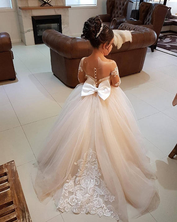 Ivory ball gown Long sleeves sheer back sweetheart lace appliques flower girl dresses first communion gown with long train bow