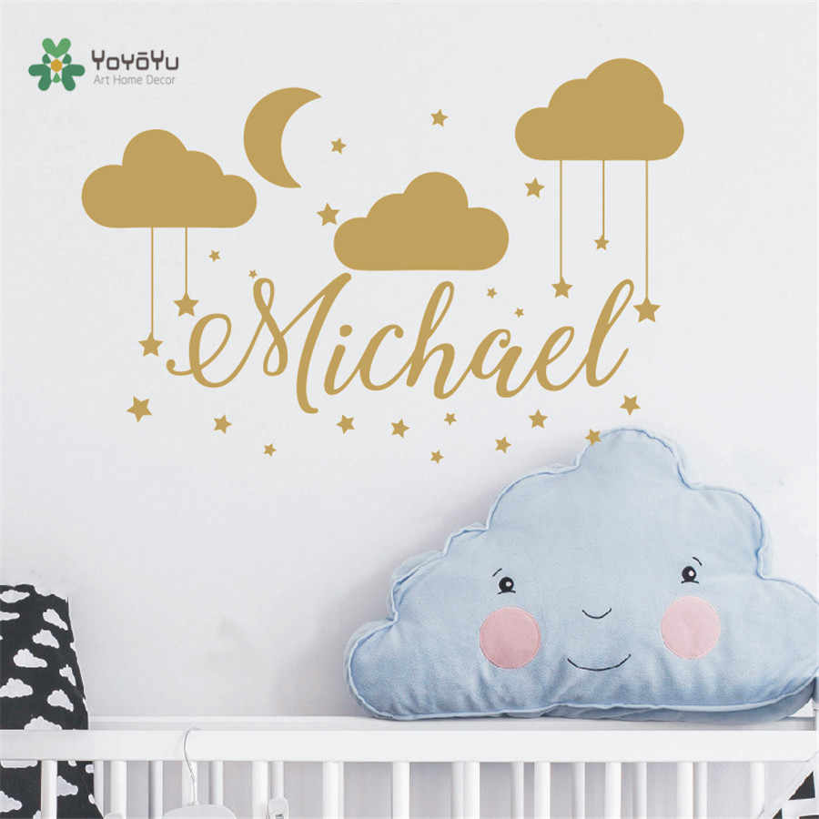 Name Wall Decal Baby Nursery Custom Bedroom Clouds Moon Decor Sticker Diy Children Decoration Room Mural Ny 440