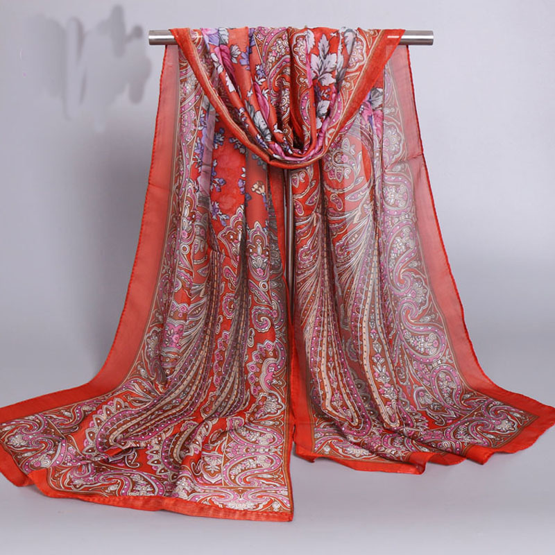Fashion Women Chiffon Silk   Scarf   Luxury Brand Lady Girls Flower Beach   Scarves   Popular Female   Scarves     Wrap   Shawl Lic