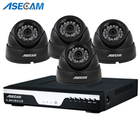 Super 4ch Full HD 4MP CCTV Surveillance Kit DVR Video Recorder AHD indoor Black Small Dome Security Camera System