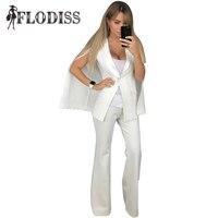 FLODISS Fashion Cloak Sleeve Pant Suits 2017 Winter Women White Jacket Pants 2 Piece Set Elegant