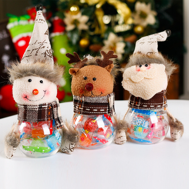 2018 new christmas decorations old man snowman elk trumpet transparent pvc candy jar gift bag navidad - Old Christmas Decorations