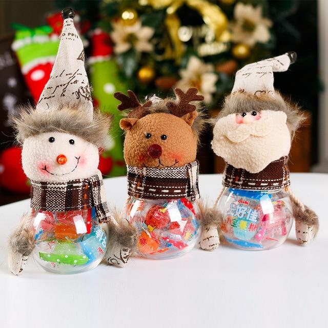 2018 new christmas decorations old man snowman elk trumpet transparent pvc candy jar gift bag navidad - Old Christmas Decorations