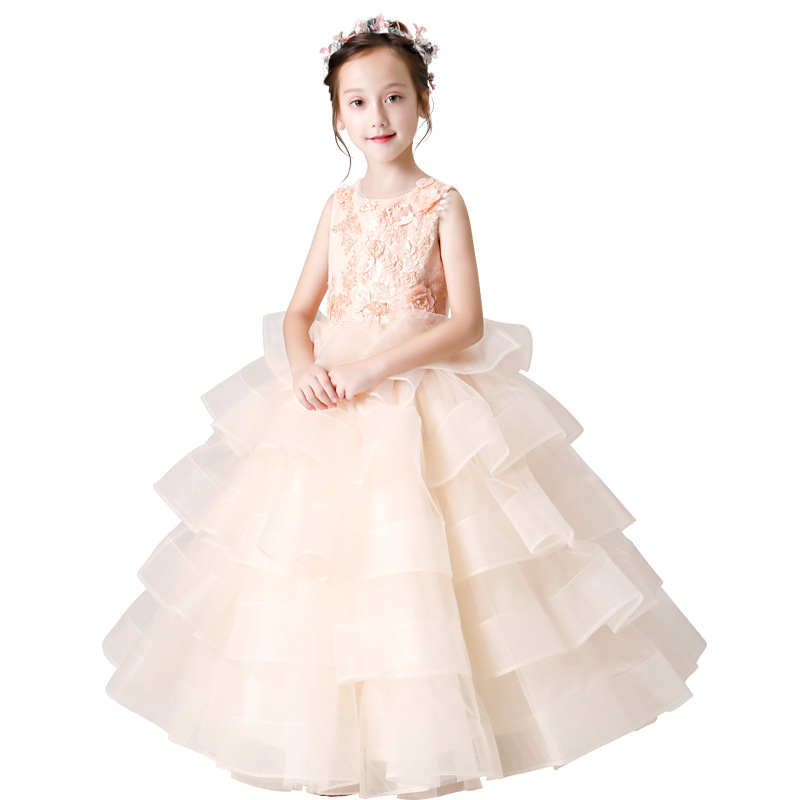 Newly Princess Ball Gown Lace   Flower     Girl     Dresses   2019 Long Sleeves Floor Length Tulle Pageant   Dresses   First Communion   Dresses
