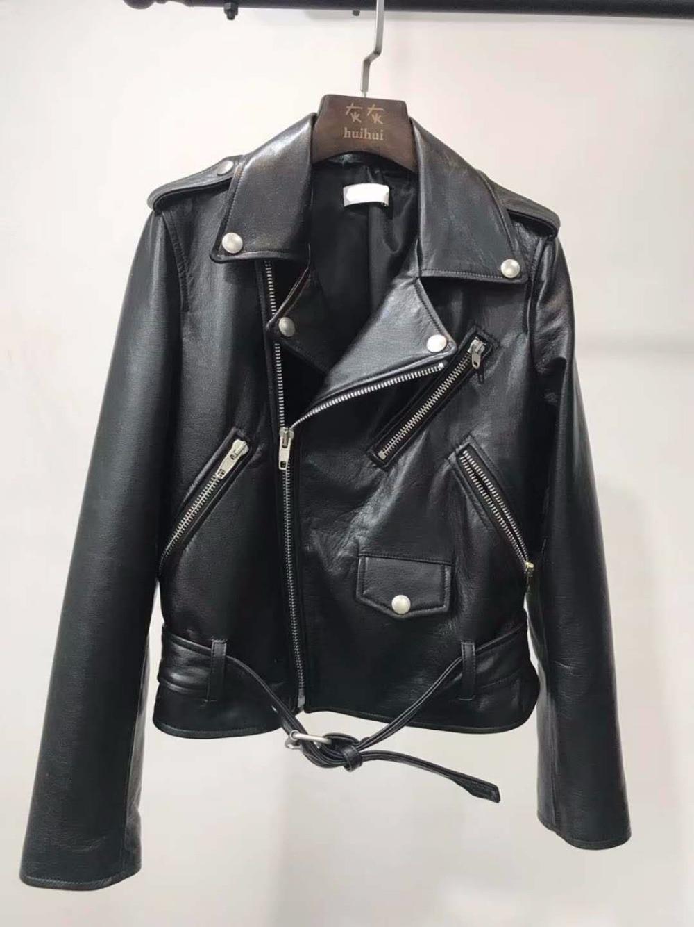 2018 women's fashion luxury import goat skin genuine leather jacket